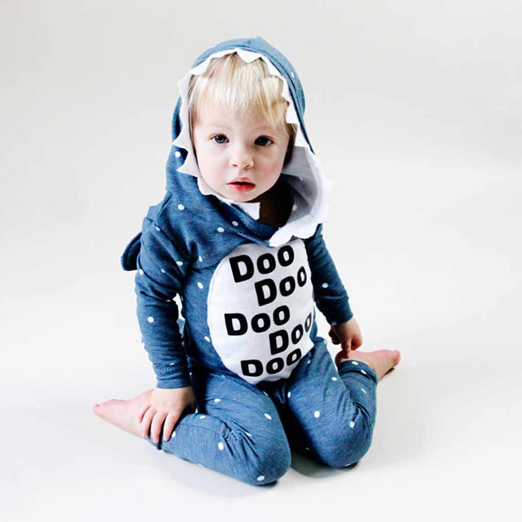 Стильная футболка с изображением персонажей видеоигр фланелевые детские комбинезоны; оригинальная обувь из хлопчатобумажной ткани в виде акулы для маленьких мальчиков и девочек комбинезоны с животными стежка Наборы для младенцев Кигуруми для новорожденных 18M-5Y