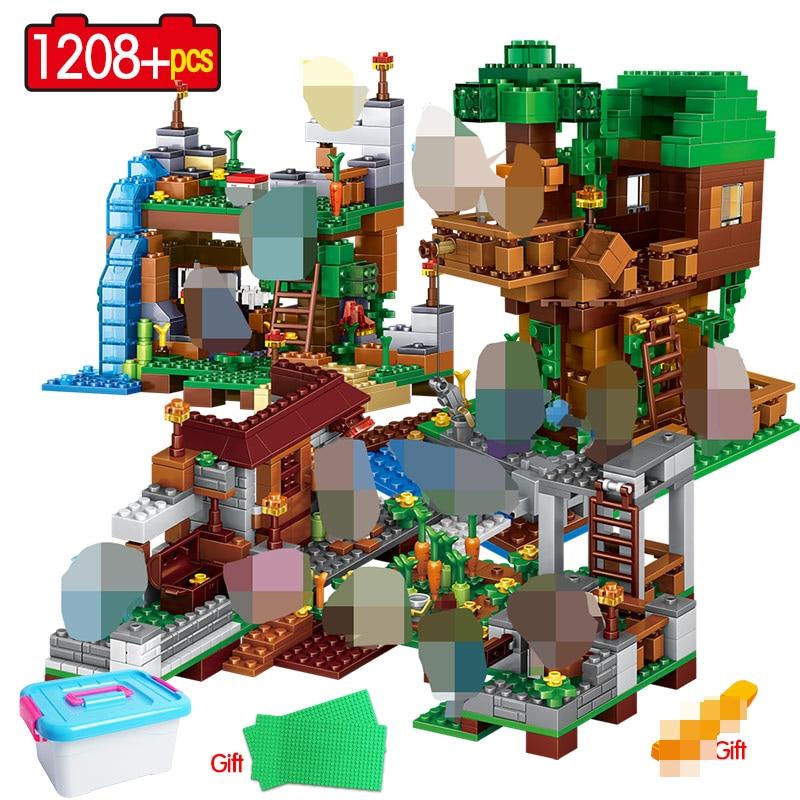 3 en 1 mon monde blocs de construction LegoING Minecrafted Village Warhorse ville arbre maison cascade jouets éducatifs pour enfants 1208 pièces