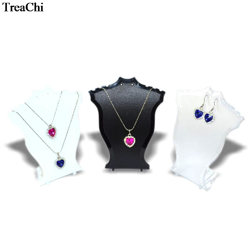 12cm Mini Size Jewelry Display Rack Plastic Neck Bust Pendant Necklace Earring Set Holder Stand Rack Black White Clear