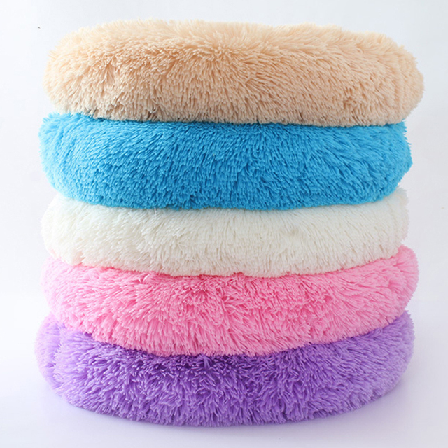 Soft Long Plush Round Pet Dog Bed for Small Medium Dogs Winter Warm Cat House Sleeping Lounger Kennel Kitten Puppy Dog Bed Mat 1