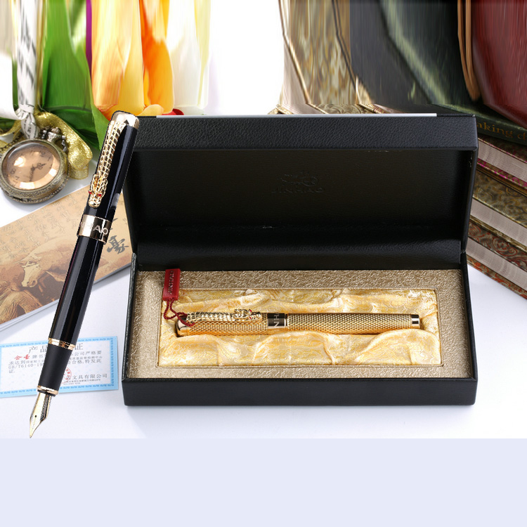 Jinhao 1200 High Quality Business Pen Set 0.5mm Nib Metal Fountain Pen with Dragon Clip Ink Pens with Gift Box Free Shipping jinhao black and gold auspicious dragon embossed fountain pen with 0 5mm nib for gift pens free shipping
