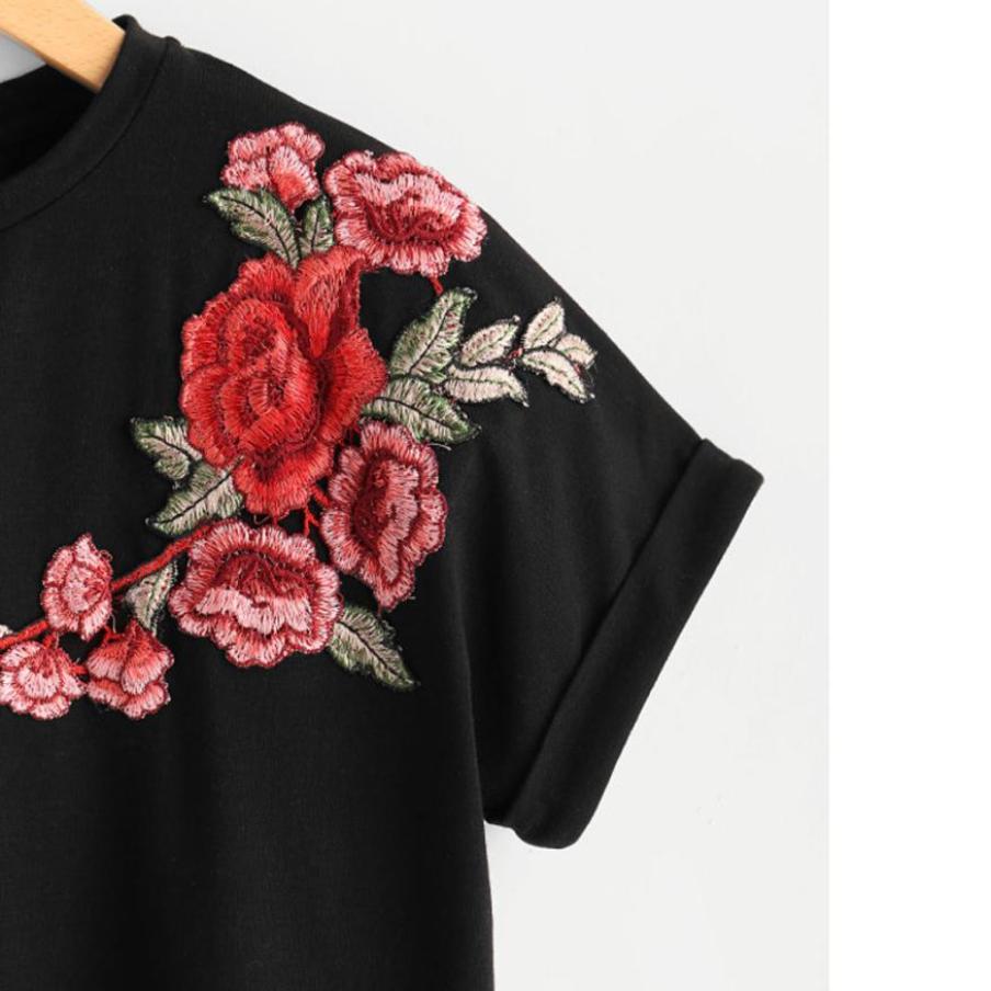 Blouse Women 2018 Plus Size Feminino Rose Embroidery Applique Sweatshirt O-neck Vintage Roupas Femininas Pure White And Translucent Blouses & Shirts