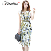 Foamlina Summer Dress 2018 New Women Korean Style Print Bodycon Dress Sleeveless Office Lady Casual Work Business Pencil Dress