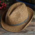 [Dexing]Chic Women Mens Summer Fedora Trilby Panama hand made Straw Hat Beach Sunhat Gangster Cap