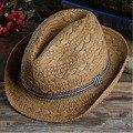 Chic Mujeres Hombres Fedora del sombrero flexible Panamá Verano hecho a mano Sombrero de Paja Beach Sunhat Gángster Cap