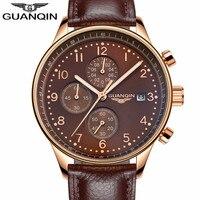 Mens Watches Top Brand Luxury GUANQIN Chronograph Luminous Analog Clock Classic Men Military Sport Leather Quartz