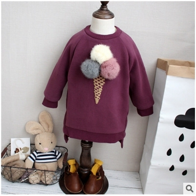 Korean children 2016 winter new girl hair ball plus Velvet Ice Cream Raglan long paragraph sweater free shipping