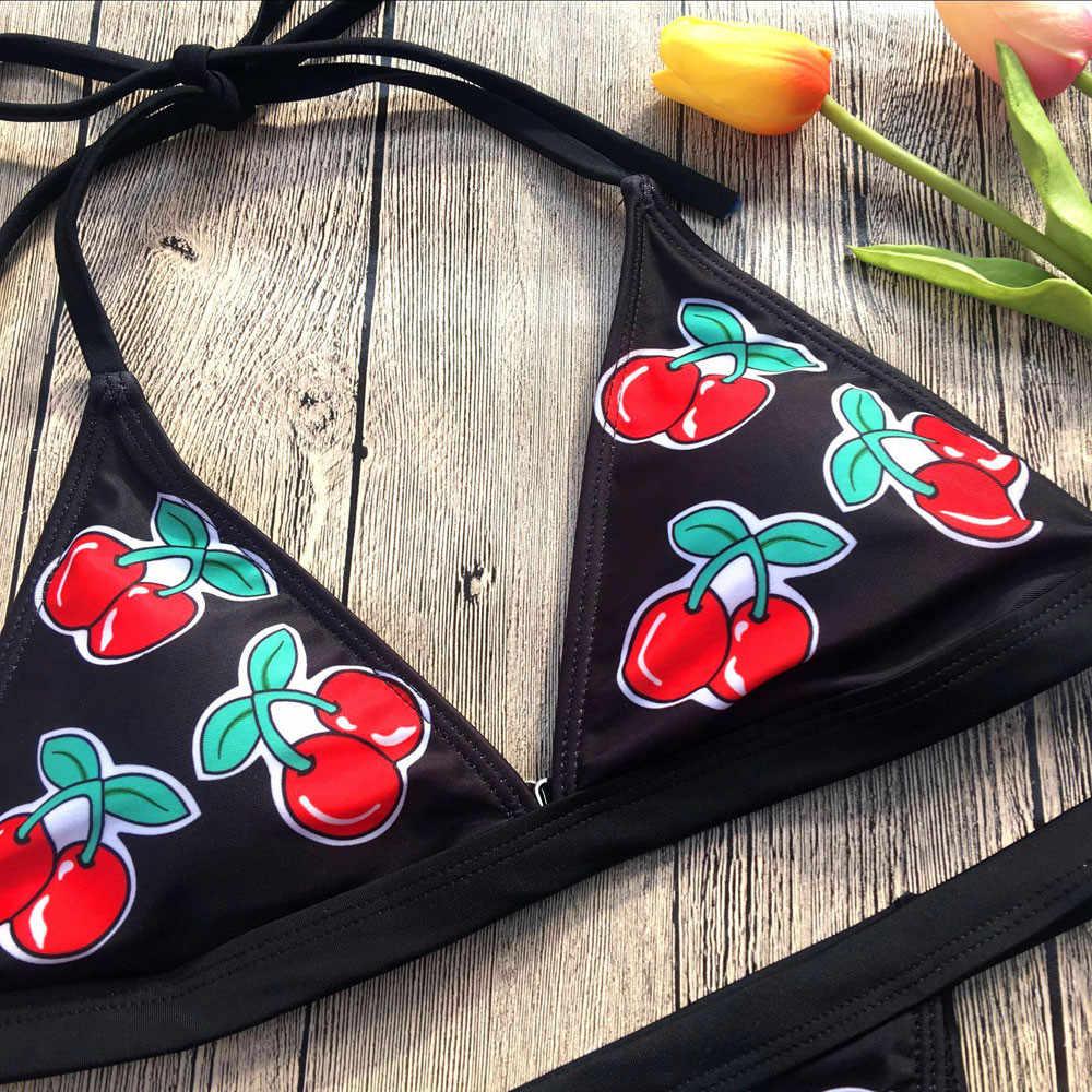 Drukuj kostium kąpielowy kobiety czarny wyściełany wiśniowy bandaż Bikini krzyżowy dekolt głęboki dekolt w szpic niski stan Backless Beach Style