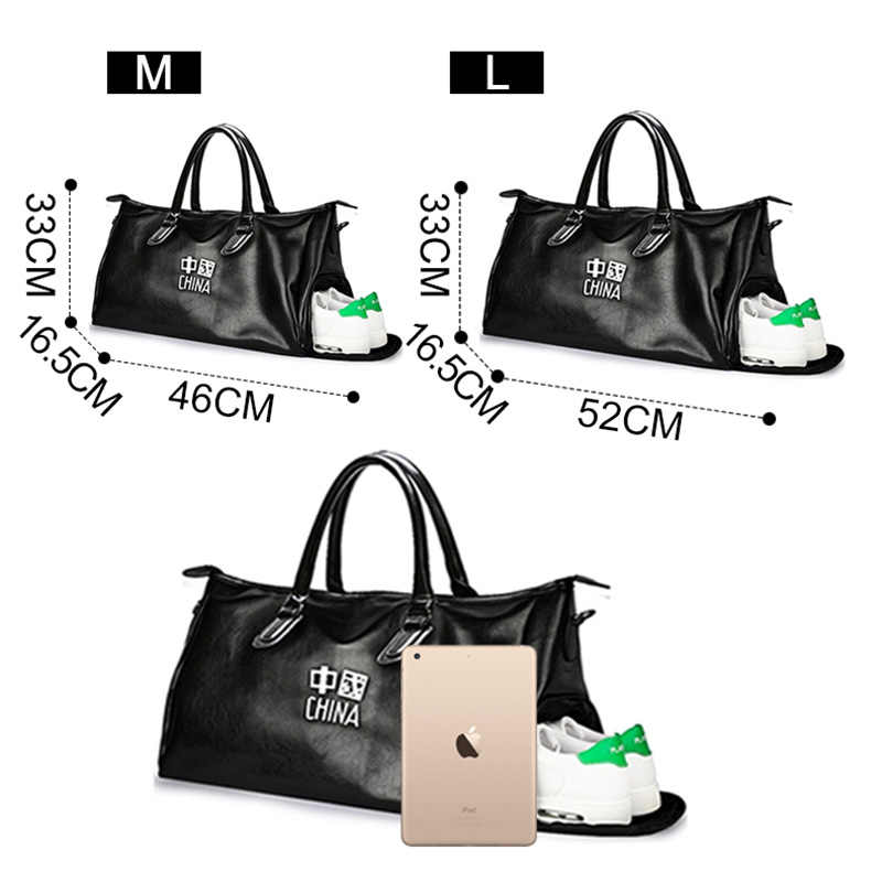 26fe501199 ... Pu Leather Gym Male Waterproof Top Female Sport Shoe Bag for Women  Fitness Over the Shoulder ...