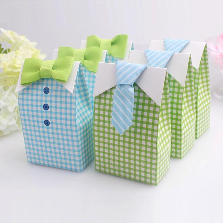 20 Pcs My Little Man Blue Green Bow Tie Birthday Boy Baby Shower Favor  Candy Treat