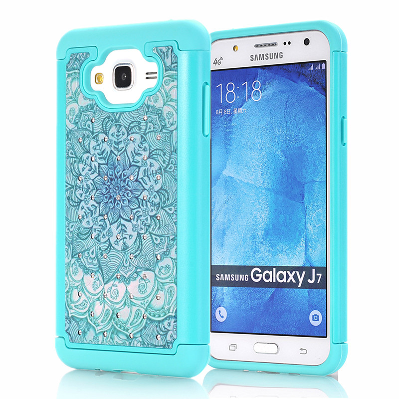 For Samsung Galaxy J7 J700F J5 J500F Fashion Mobile Phone Case Cover Flower Cute Armor Case Hybrid Cover for Samsung J3 2016