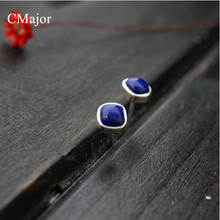 CMajor 925 sterling silver jewelry classical style natural lapis lazuli stud earrings for women