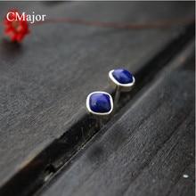 Cmajor стерлингового серебра 925 классический стиль натуральный Лазурит серьги стержня для женщин
