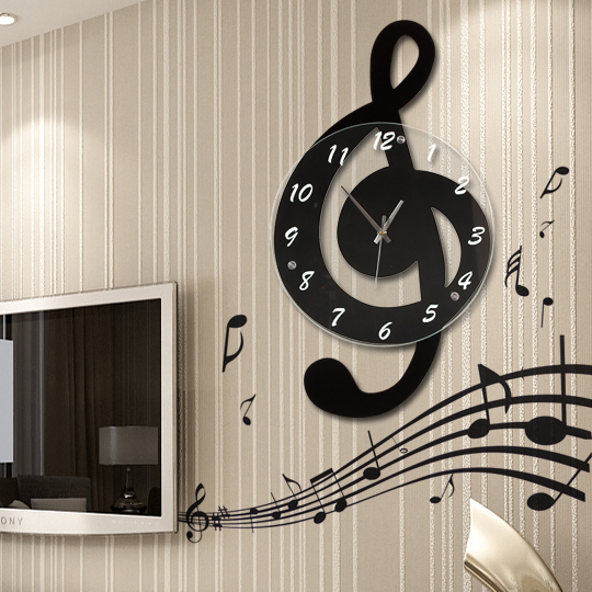 Music Note In The Living Room Wall Clock Fashion Clock Personality Quartz  Rustic Decoration Silent Art ...