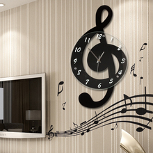 Music note in the living room wall clock fashion clock personality quartz rustic decoration  silent art clock with wall stickers