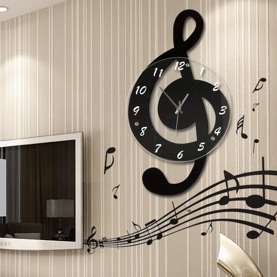Note de musique dans le salon horloge murale mode horloge personnalité quartz décoration rustique horloge art silencieux avec autocollants muraux