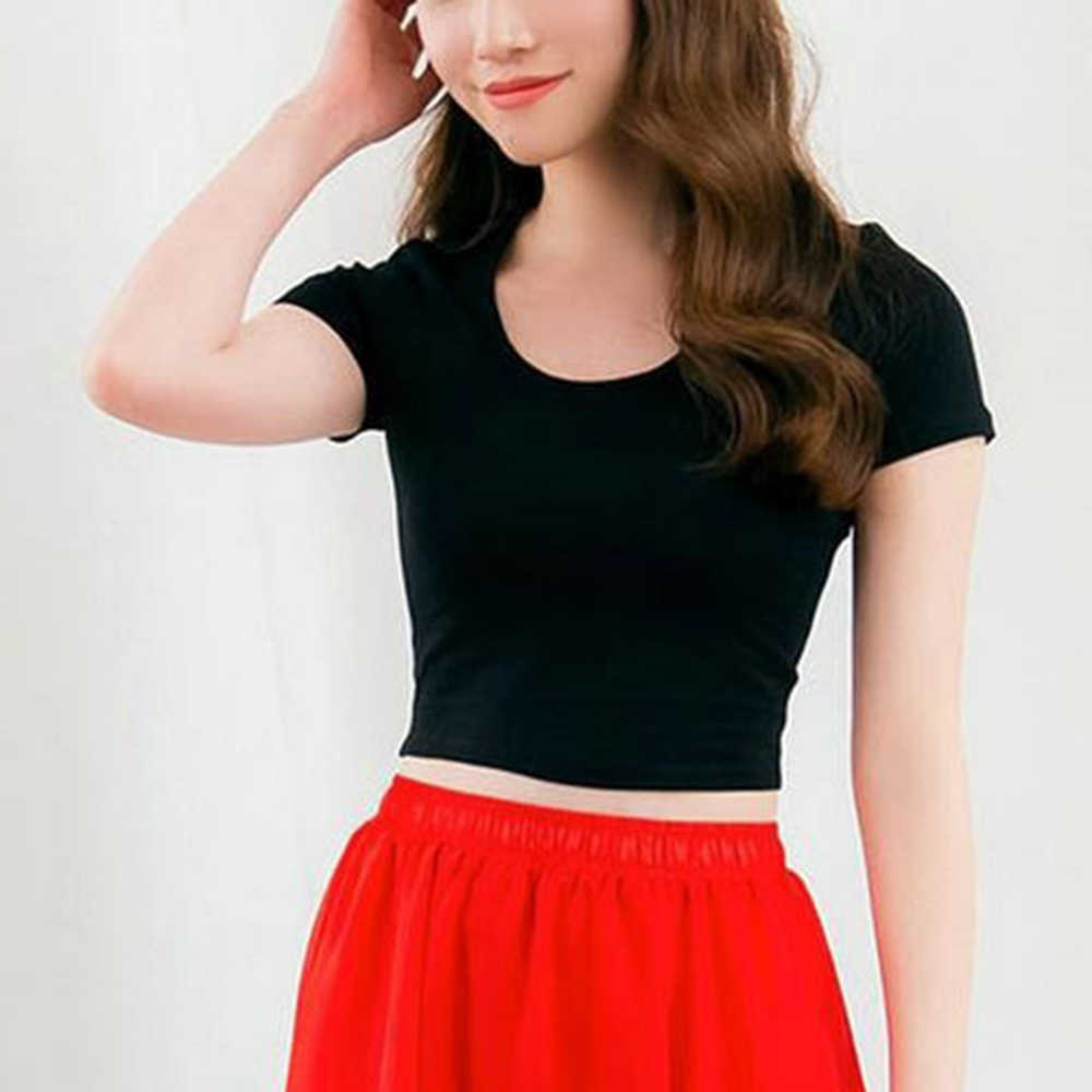 New European and American women's short sleeve T- shirt O-neck slim fitting crop showing pure color T-shirt sexy undershirt