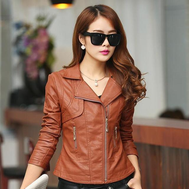 d2ef10582bc3 Brown Leather Jacket Women Ladies PU Leather Motorcycle Jackets 2017 New  Fashion Zippered Pockets Free Shipping
