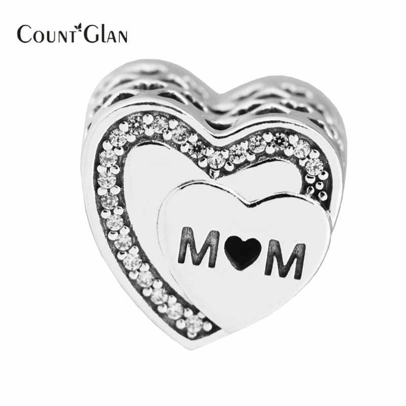 2017 Mothers Day Gift Tribute To Mom Charms Beads 925 Sterling Silver Heart Beads For DI ...