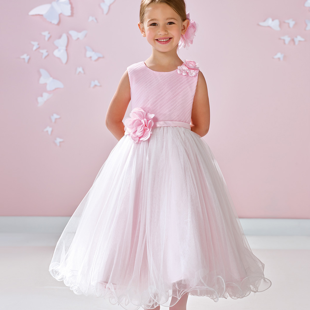 New Arrival Flower Girl Dress High Quality Tulle Sleeveless A Line Custom Made Bow Back First Communion Gowns with Flowers Sash цены онлайн