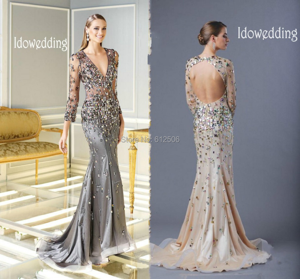 Top Grade Gary Long Sleeve Evening Dresses 2015 Rhinestone V Neck ...