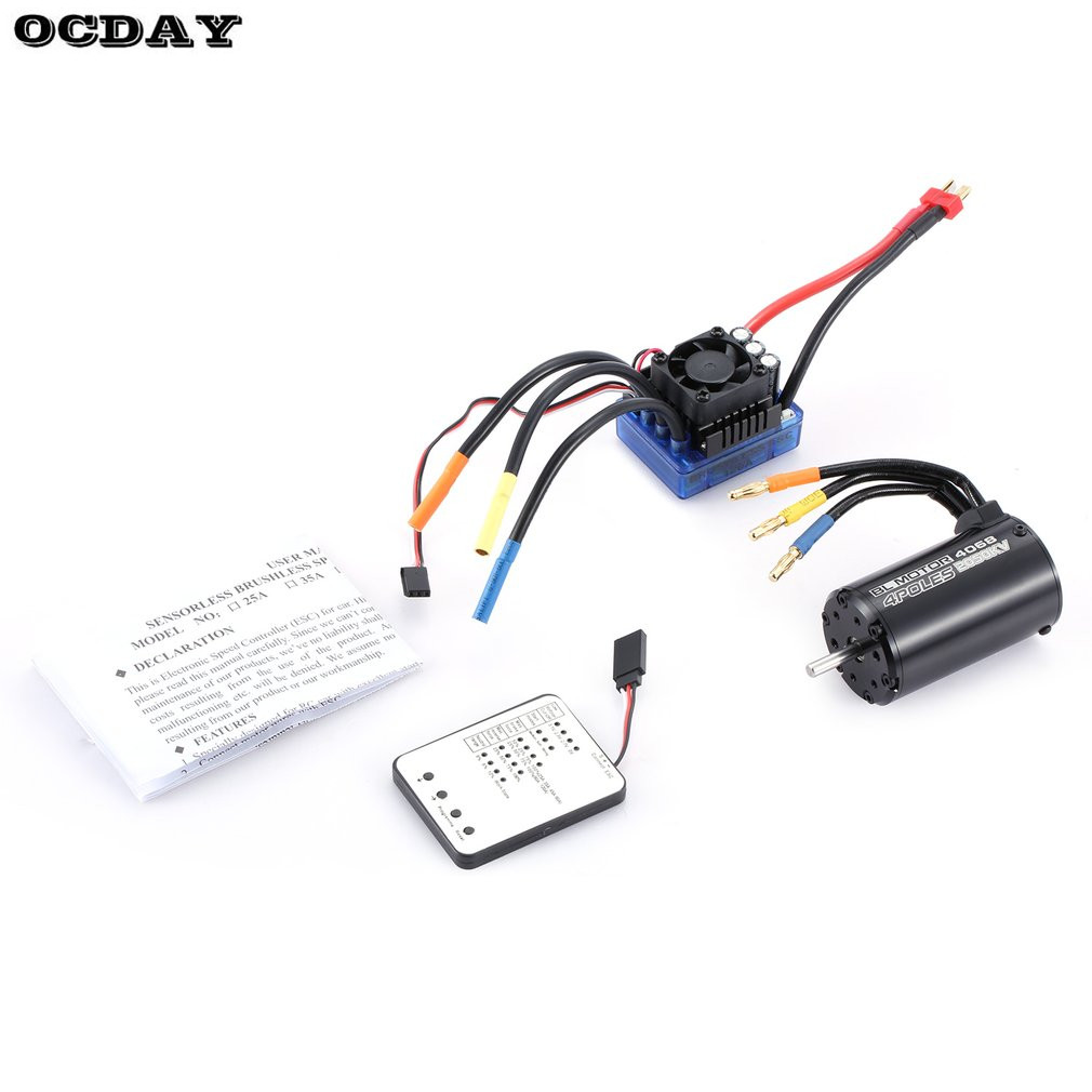 Hot! 4068 2050KV 4 poles Sensorless Brushless Motor 120A ESC with LED Programming Card Combo Set for 1/8 RC Car Truck Parts&Acce racerstar 120a esc brushless waterproof sensorless 1 8 rc remote radio car parts