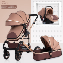 3 in 1 Baby Stroller High Landscape Folding Carriage Gold Newborn pram