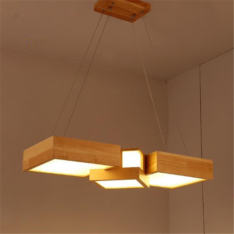 Modern Janpanese Style Wooden Led Chandelier Rectangular Wood Lights Fixtures For Living Room Dining Room Free