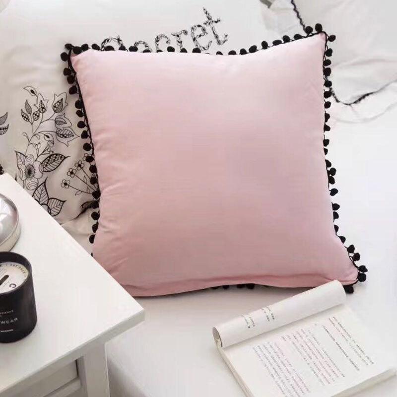 rose blanc coussin creatif coussin oreiller carre gland coussin 45 45 cm mode fille chambre decoration oreiller fress expedition