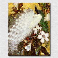 Beautiful White And Green Bird Picture Hand Painted Peacock Peafowl Painting High Quality Animal Oil Painting