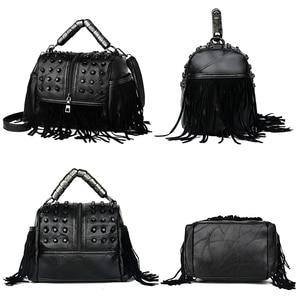 Image 3 - High Quality Womens Genuine Leather Handbags Patchwork Shoulder Bags Female Fashion Tassel Soft Tote Retro Women Crossbody Bag