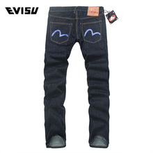 Evisu 2018 Men hipster jeans Casual Fashion Trousers Zipper Men Pockets Jeans Straight Long Classic Blue Jeans For Men 3051