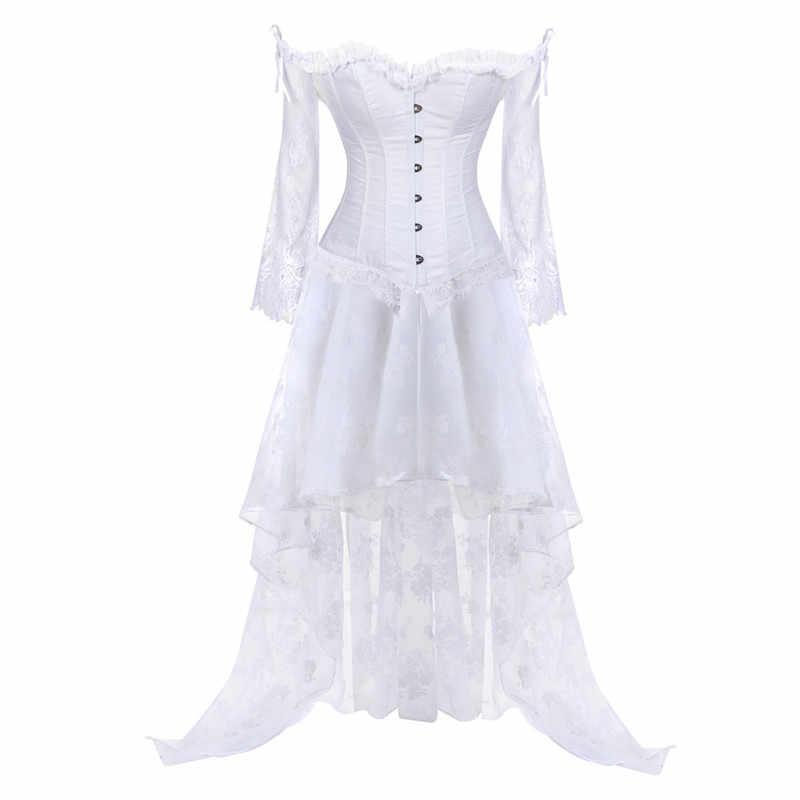 Женский винтажный корсет в стиле стимпанк викторианское Ретро готический корсет Бурлеск кружевной корсет-бюстье длинная стандартная юбка комплект