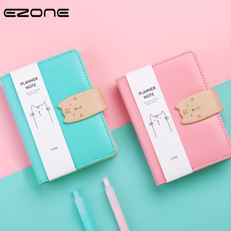 EZONE Cute Candy Color Notebook PU Cover Printed Kawaii Cat Note Book Coil Spiral Notepad Travel Journal planner Stationery Gift ezone cute cartoon notebook printed kawaii cat note book pu cover with hasp nopated traveler journey diary school office supply