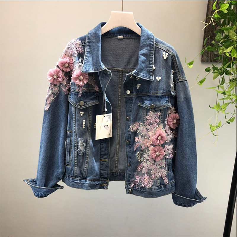 Women Denim   Jackets   Plus Size 2018 Autumn Ladies Flower Single Breasted Jean Coats Beading Hole Outerwear   Basic     Jacket   Z46
