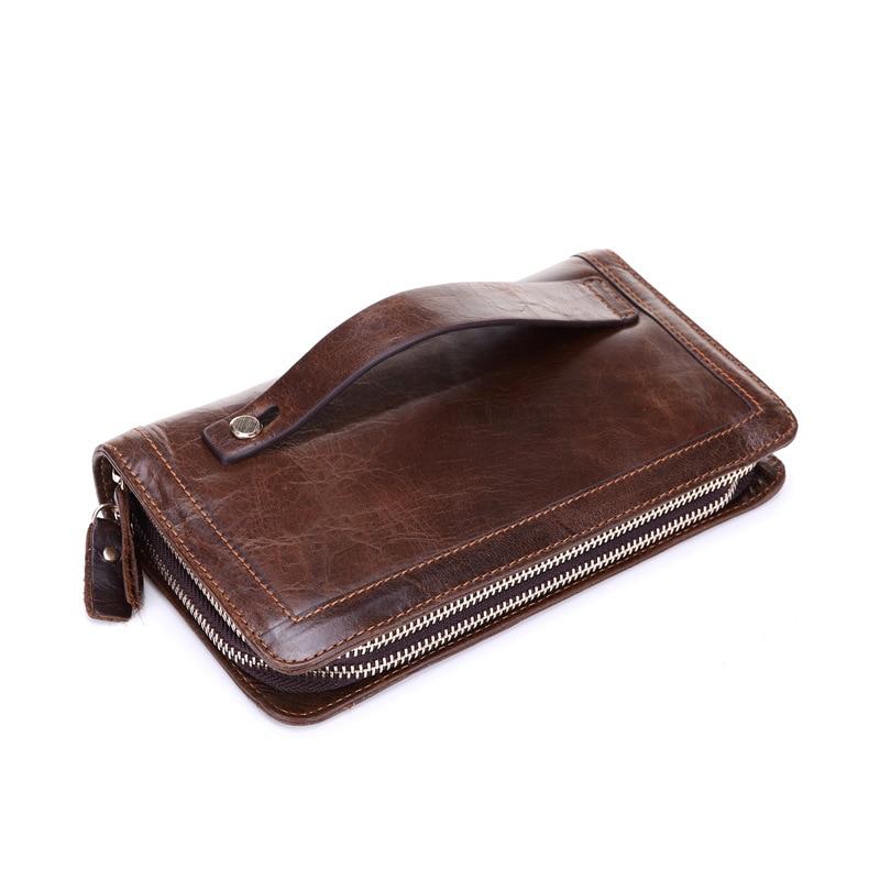 Brand Mans Plånböcker Äkta Läder Mynt Dubbla Zipper Pocket Mäns Koe Läder Lång Plånbok Man Koppling Telefon Väskor Man Väska