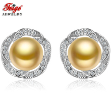 Fashion Flower Pure 925 Sterling Silver Earrings for Woman 8-9MM Golden Freshwater Pearls Stud Earring Fine Jewelry Gifts FEIGE