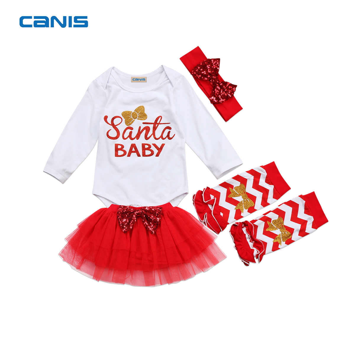 2017 Brand New 4 Pcs Newborn Toddler Infant Baby Girl Santa Romper Tulle Skirt Leg Warmer Outfits Red Xmas Set Christmas Clothes 2017 brand new 3pcs set newborn toddler infant baby girl boy clothes romper long sleeve shirt tops pants hat santa candy outfits