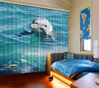 Home Bedroom Decoration 3D Curtain Dolphin Bed Room Living Room Office Hotel Cortinas Bathroom Curtain