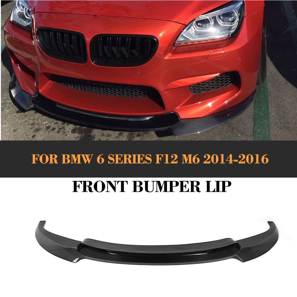 6 Series Carbon Fiber Front Lip Apron Spoiler for BMW F12 M6 Base Convertible Coupe 2014 2015 2016 Black FRP V Style