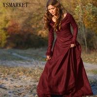 YSMARKETคลาสสิกยุคกลางสไตล์ผู้หญิงยาวชุดกลางยุโรปพรรคแขนยาวรอบคอของแข็งบาง
