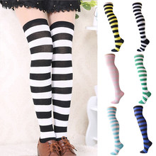 3cef4e9ac Women Striped Thigh High Stockings Over Knee Socks Warm Long Socks  Compression Stocking Christmas Socks medias