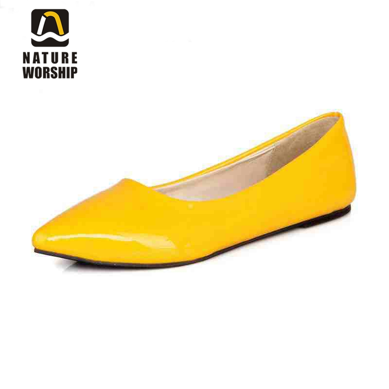 Patent leather shoes women big size 34-47 boat shoes Solid Slip-On Pointed Toe women flats shoes Spring/Autumn Casual Lazy shoes memunia 2017 fashion flock spring autumn single shoes women flats shoes solid pointed toe college style big size 34 47