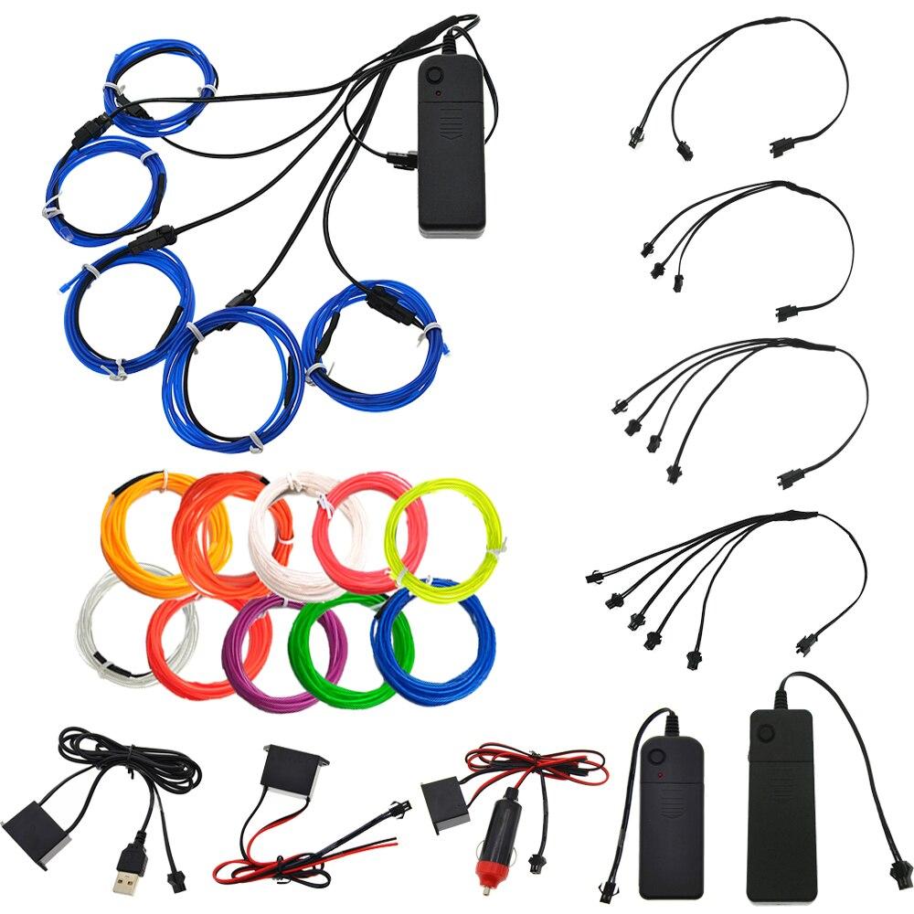 EL Wire 1M Glow String Strips Neon LED Light + Controller + Inverter 3V/12V/Sound Activated/USB/Car Cigarette 3m 2 3mm el wire 3v aaa sound activated battery inverter mix order available