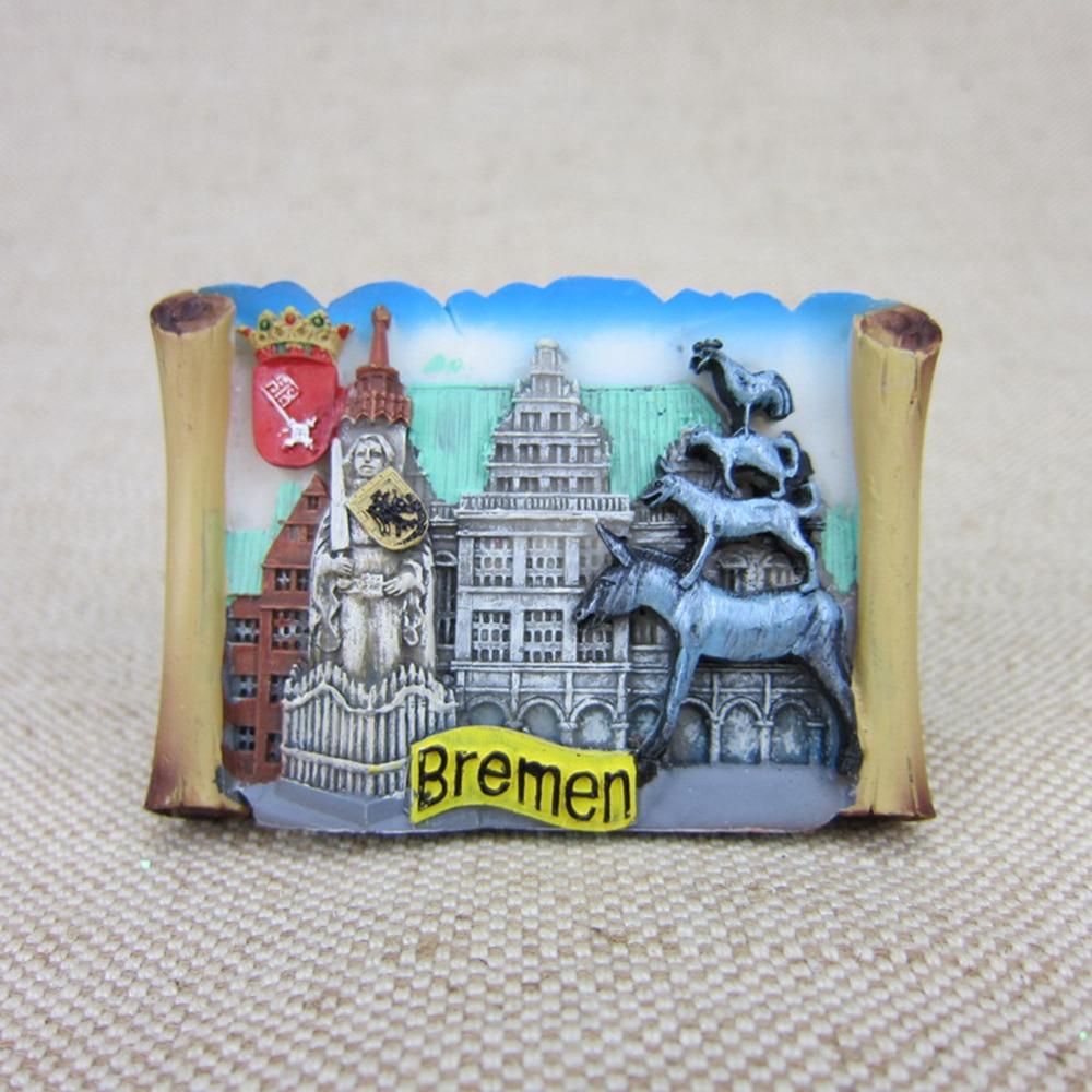 Germany Bremen Tourism Souvenirs Fridge Magnets Handmade Resin Refrigerator  Magnetic Stickers Home Decor Creative Decoration