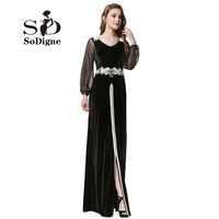 Avondjurk 2017 SoDigne Arabische Stijl Robe De Soiree Lange mouwen Sexy Split Vooraan Black Prom Dress Applicaties Velour Party Gown