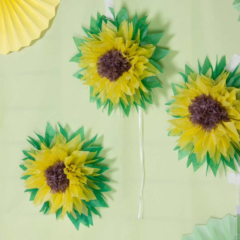 Us 4 94 16 Off 3pcs Sunflower Pom Pom Tissue Paper Flowers Summer Wedding Birthday Baby Shower Wall Backdrop Centerpiece Party Decorations In Party