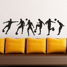 Football - football player silhouette set wall art vinyl decal sticker, boy room home living room decoration ZQ08