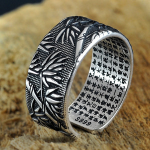Image 5 - V.YA 925 Sterling Silver Buddhism Heart Sutra Rings For Men Classic Bamboo leaves Thai Silver Open Ring Mens Jewelry