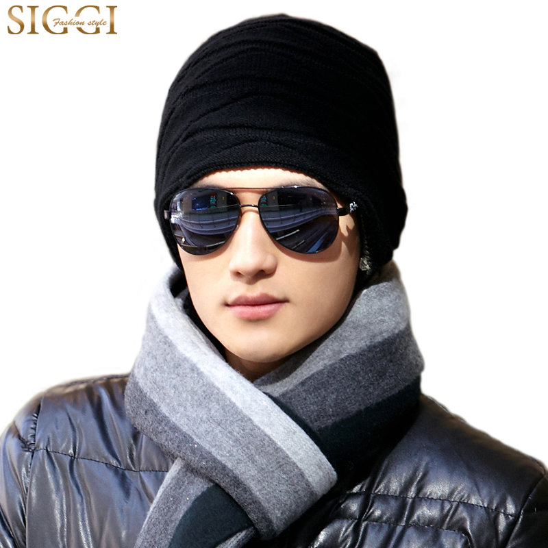SIGGI Knitted beanie winter hat men skullies cap fall thick double-layer reversible warm baggy gorros 66119 2016 band beanies winter men knitted hat reversible beanie for new women unisex baggy warm skullies skull cap bonnets gorros